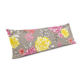 Hot Pink & Gray Floral Large Lumbar Pillow