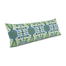Green & Blue Ikat Large Lumbar Pillow