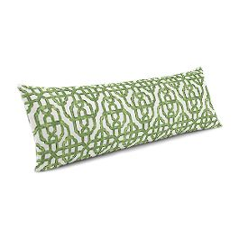 Green Watercolor Trellis Large Lumbar Pillow