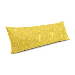 Citron Faux Bois Velvet Large Lumbar Pillow
