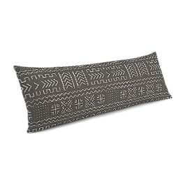 Charcoal Woven Tribal Large Lumbar Pillow