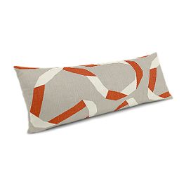 Orange Red Ribbon Large Lumbar Pillow