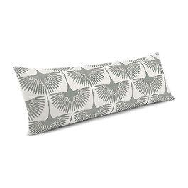Flocked Gray Bird Large Lumbar Pillow