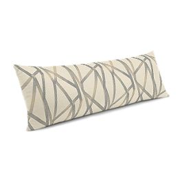 Silver & Tan Abstract Stripes Large Lumbar Pillow