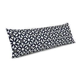 Navy Blue Floral Lattice Large Lumbar Pillow