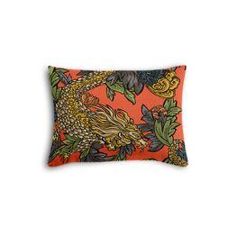 Red Chinoiserie Dragon Boudoir Pillow