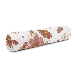 Sketched Pink Floral Bolster Pillow