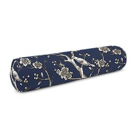 Navy Blue Floral & Bird Bolster Pillow