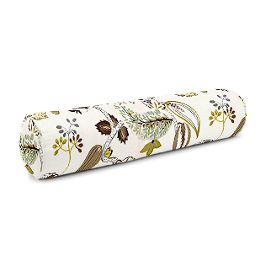 Green & Brown Botanical Bolster Pillow