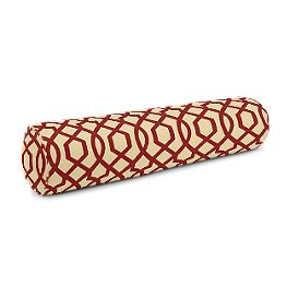 Flocked Tan & Red Trellis Bolster Pillow