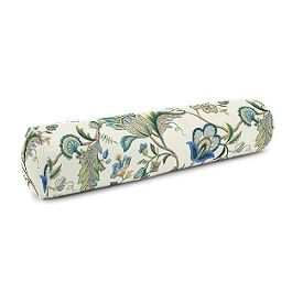 Jacobean Blue Floral Bolster Pillow