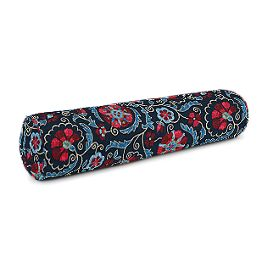 Red & Navy Blue Suzani Bolster Pillow