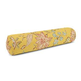 Delicate Yellow Floral Bolster Pillow
