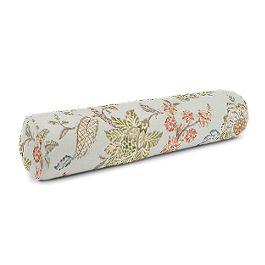 Delicate Aqua Blue Floral Bolster Pillow