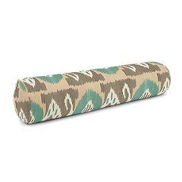 Handwoven Tan & Teal Ikat Bolster Pillow