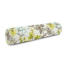 Aqua Blue Watercolor Floral Bolster Pillow