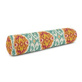 Turquoise & Red Ikat Medallion Bolster Pillow