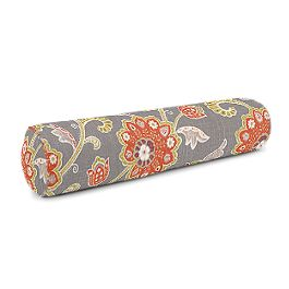 Coral & Gray Floral Bolster Pillow