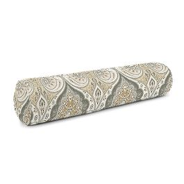 Gray & Tan Paisley Bolster Pillow