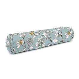 Modern Aqua Floral Bolster Pillow