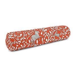 Red Animal Motif Bolster Pillow