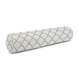 Embroidered Blue Scallop Bolster Pillow