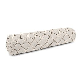 Embroidered Taupe Scallop Bolster Pillow