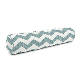 White & Blue Chevron Bolster Pillow