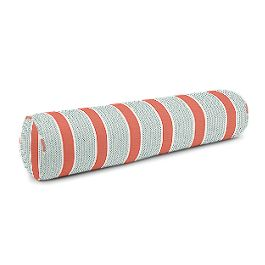 Aqua & Coral Pink Stripe Bolster Pillow