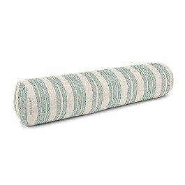 Embroidered Aqua Stripe Bolster Pillow