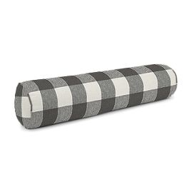 Gray & White Buffalo Check Bolster Pillow