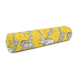 Yellow & Gray Zoo Animal Bolster Pillow