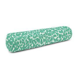 Bright Green Leopard Print Bolster Pillow