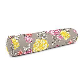 Hot Pink & Gray Floral Bolster Pillow