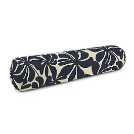 Navy Graphic Floral Bolster Pillow