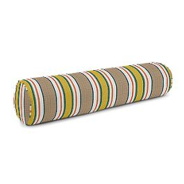 Yellow & Taupe Stripe Bolster Pillow