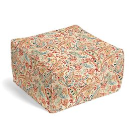 Multicolor Red Paisley Pouf