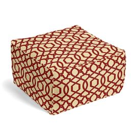 Flocked Tan & Red Trellis Pouf