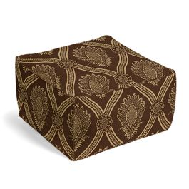 Brown Medallion Trellis Pouf