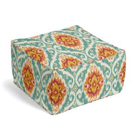 Turquoise & Red Ikat Medallion Pouf