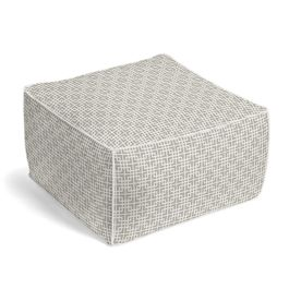 Gray Square Lattice Pouf