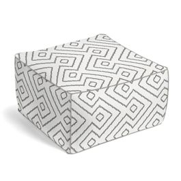 White & Gray Diamond Pouf