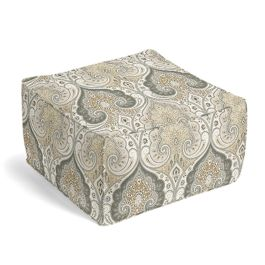 Gray & Tan Paisley Pouf