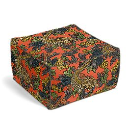 Red Chinoiserie Dragon Pouf