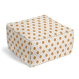 Beige & Orange Hexagon Pouf