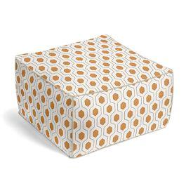 Beige & Orange Hexagon Pouf