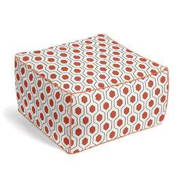 Gray & Red Hexagon Pouf