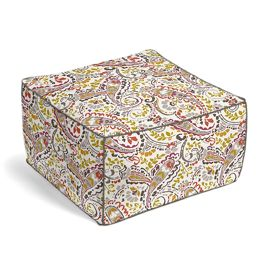 Stenciled Red & Gray Paisley Pouf