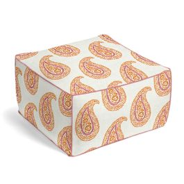 Orange & Pink Paisley Pouf