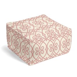 Scrolled Pink Trellis Pouf